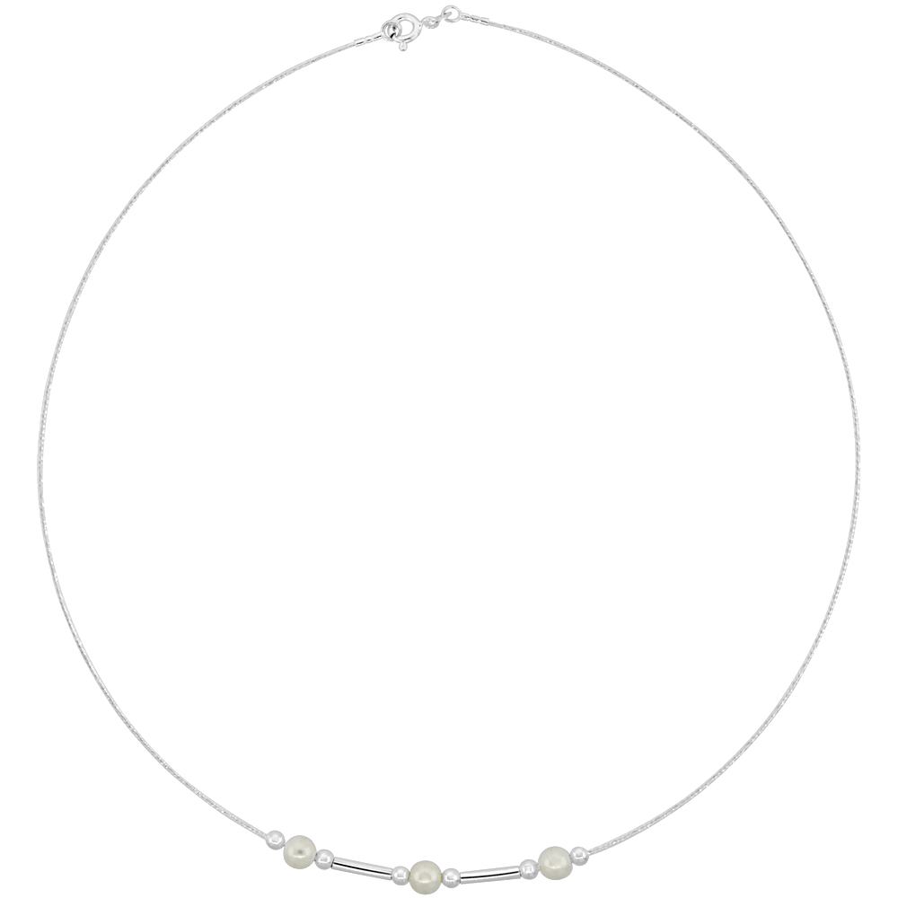 Sterling Silver Cable Wire Necklace Bar, Bead and Faux Pearl Accents, 7/32 inch wide