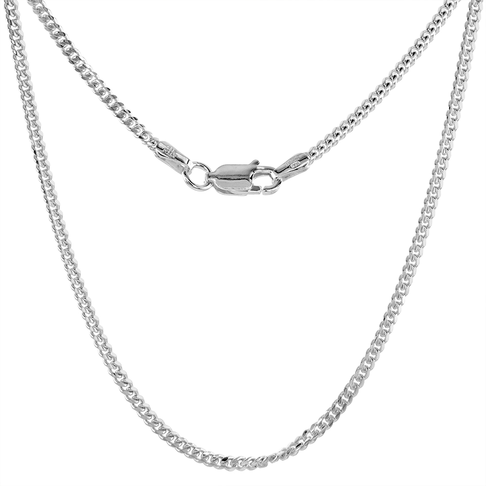 Sterling Silver 2mm Miami Cuban Link Chain Necklace Domed Surface Nickel Free Italy sizes 16 - 20 inch