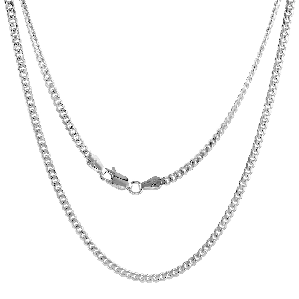 Sterling Silver 2.7mm Miami Cuban Link Chain Necklace Domed Surface Nickel Free Italy sizes 16 - 20 inch