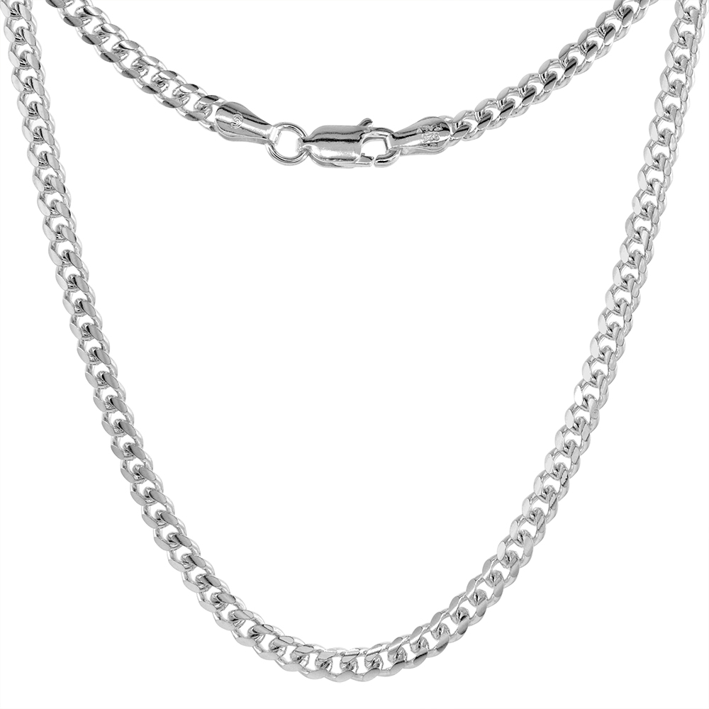 Sterling Silver 3.5mm Miami Cuban Link Chain Necklaces & Bracelets Domed Surface sizes 20 - 30 inch