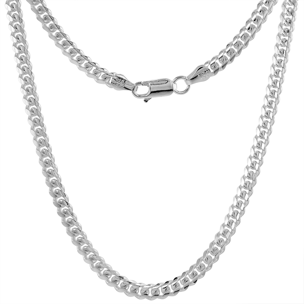 Sterling Silver 4mm Miami Cuban Link Chain Necklaces & Bracelets Domed Surface sizes 7 - 30 inch