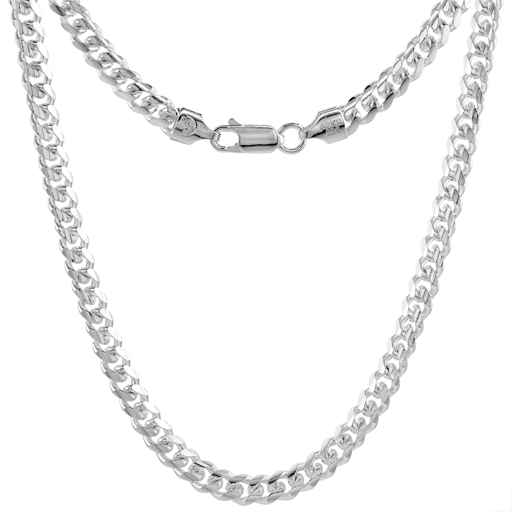 Sterling Silver 5mm Miami Cuban Link Chain Necklaces & Bracelets Domed Surface sizes 7 - 30 inch