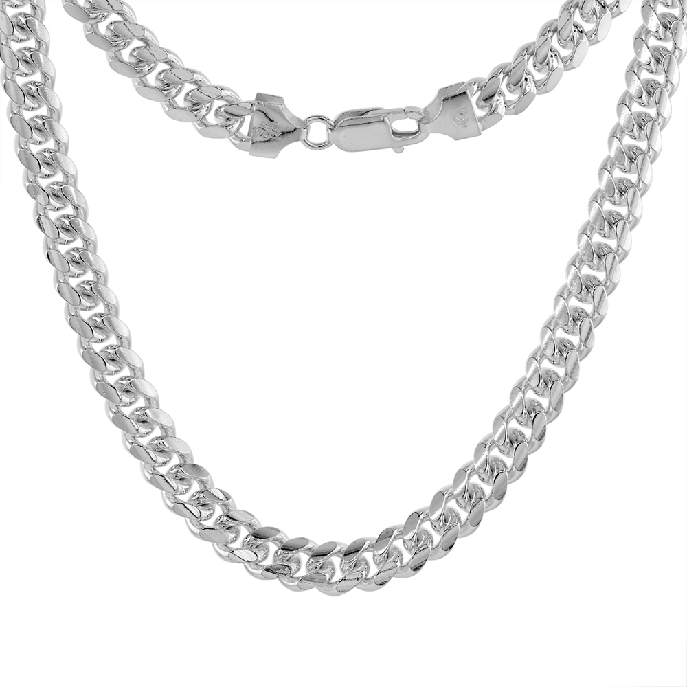 Sterling Silver 7mm Miami Cuban Link Chain Necklaces & Bracelet for Men Nickel Free Italy sizes 8 - 30 inch