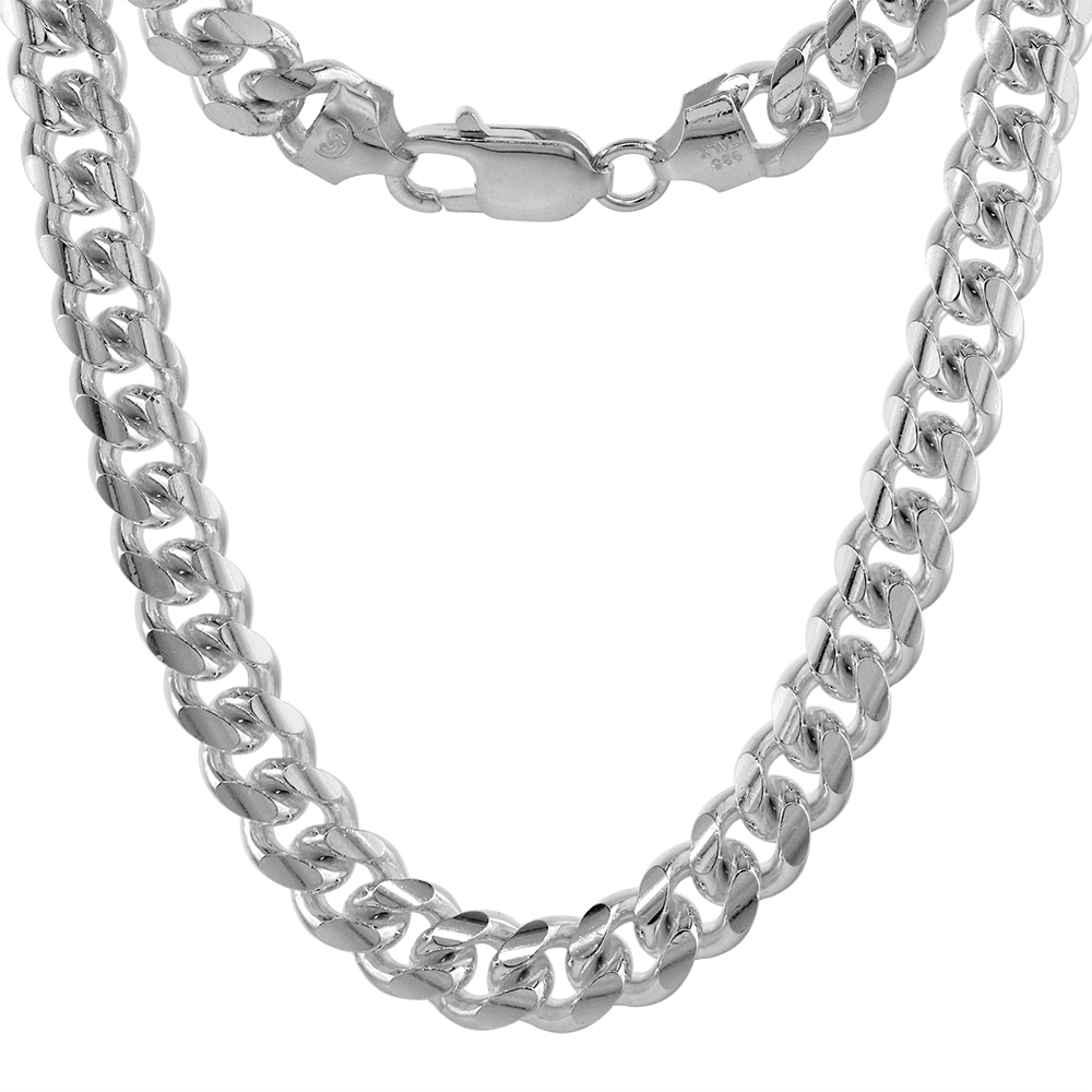 Sterling Silver 8mm Miami Cuban Link Chain Necklaces & Bracelet for Men Nickel Free Italy sizes 8 - 30 inch