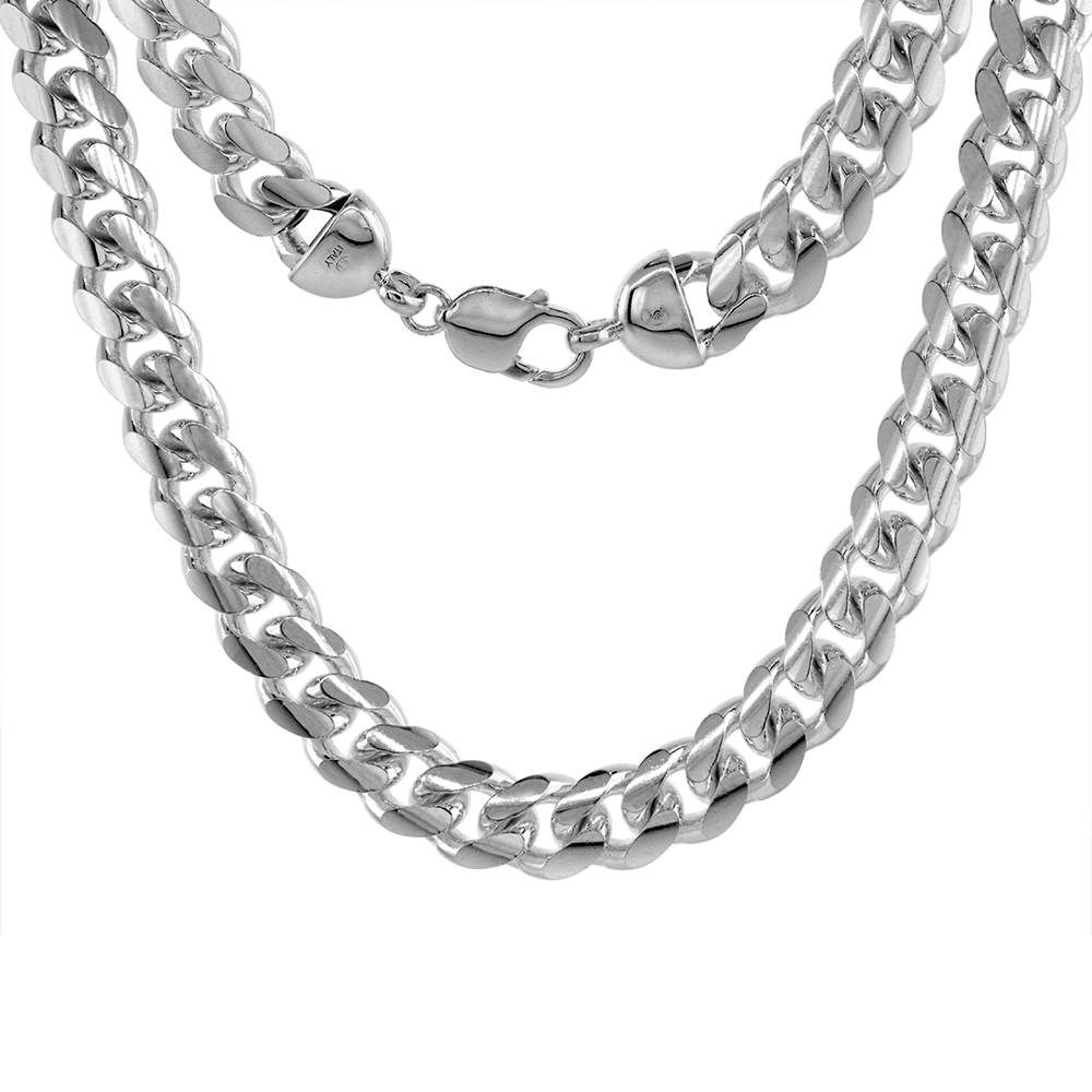 Sterling Silver 12mm Miami Cuban Link Chain Necklaces & Bracelet for Men Domed Surface sizes 8 - 30 inch