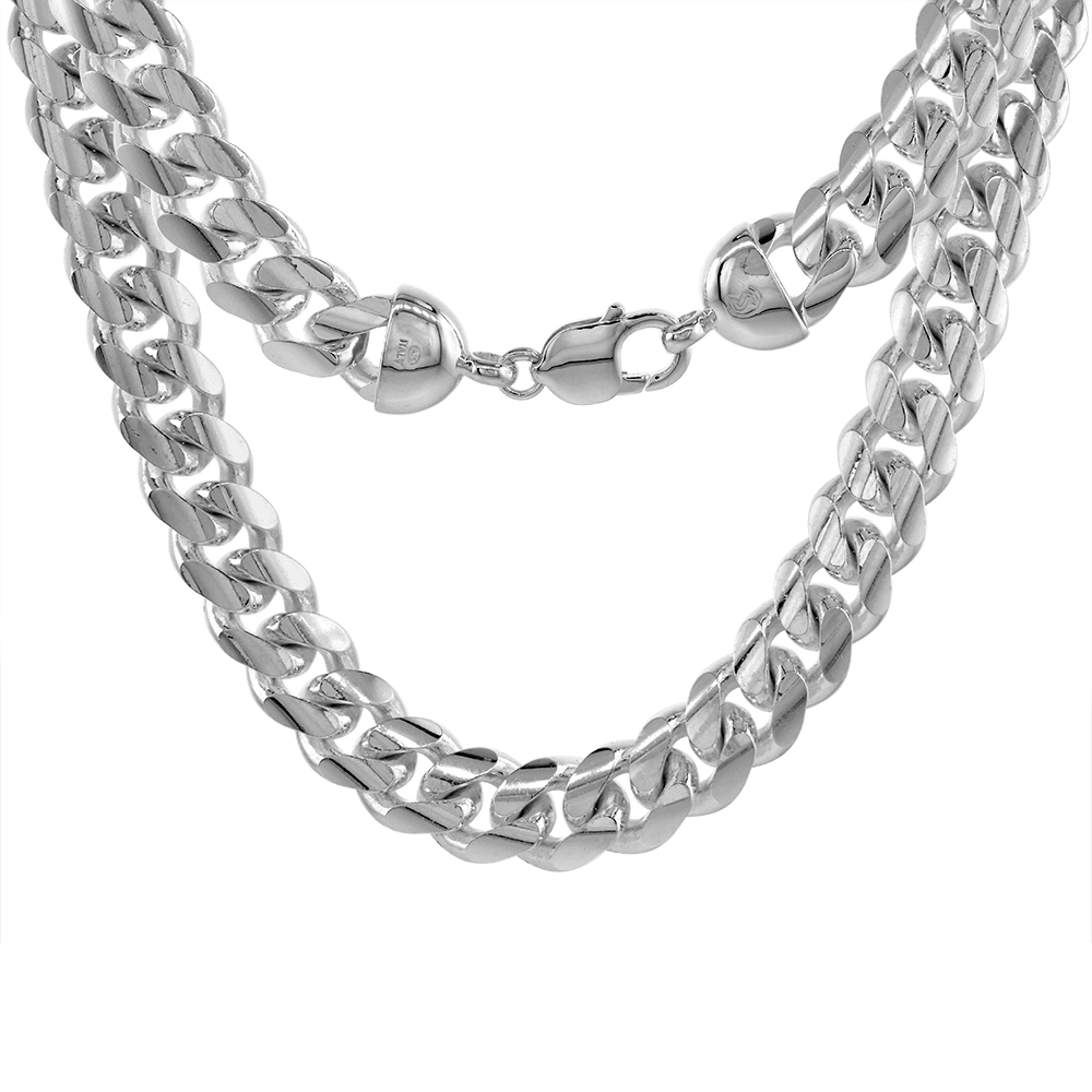 Very Thick Heavy Sterling Silver 13mm Miami Cuban Link Chain Necklaces & Bracelet for Men Domed Surface sizes 8 - 30 inch