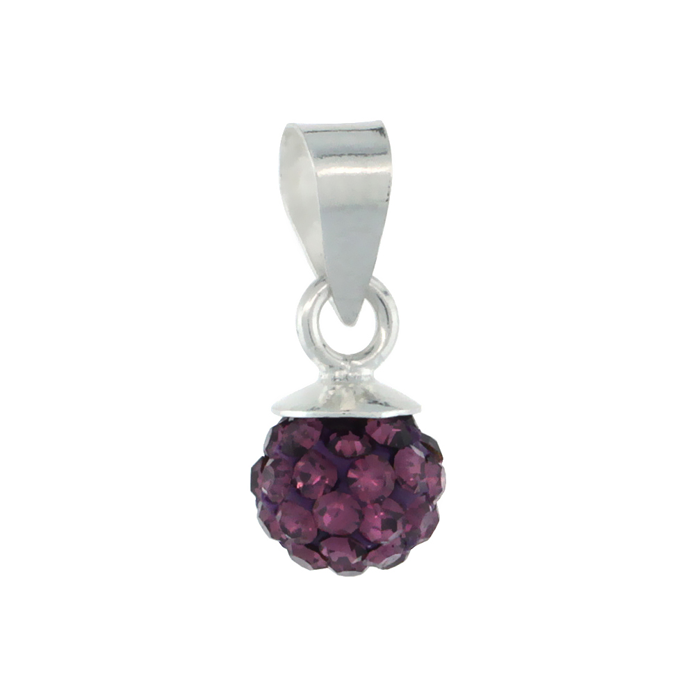 Tiny 6mm Sterling Silver February Birthstone Amethyst Purple Crystal Disco Ball Pendant Necklace for Women