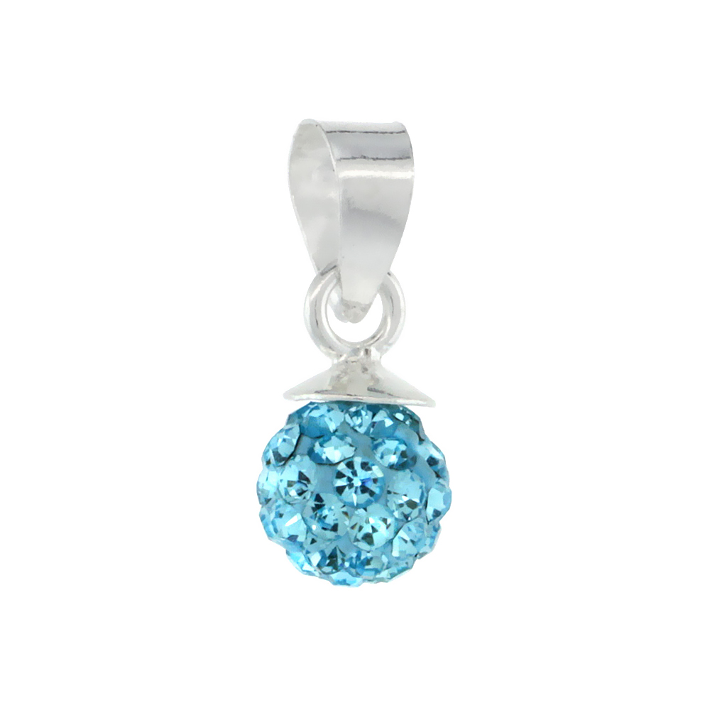 Tiny 6mm Sterling Silver March Birthstone Aquamarine Aqua Crystal Disco Ball Pendant Necklace for Women
