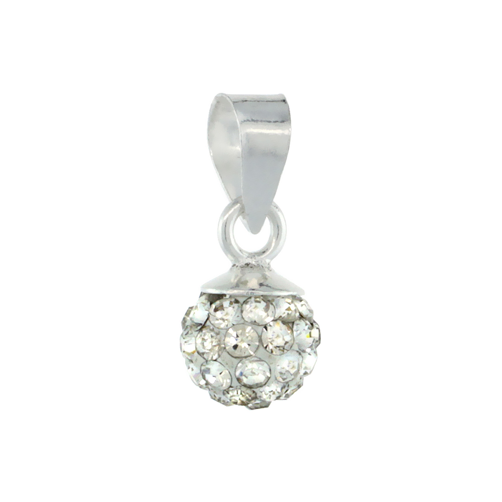 Tiny 6mm Sterling Silver April Birthstone White Crystal Disco Ball Pendant Necklace for Women