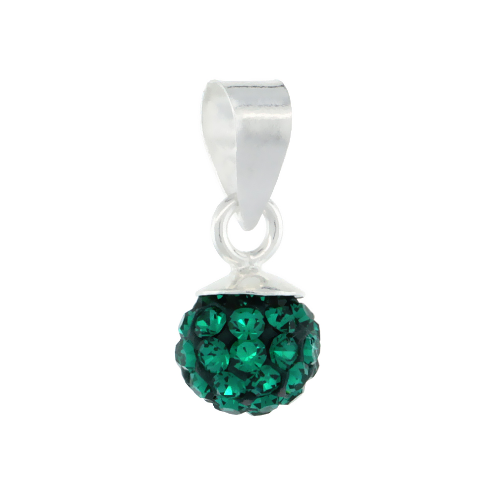 Tiny 6mm Sterling Silver May Birthstone Emerald Green Crystal Disco Ball Pendant Necklace for Women