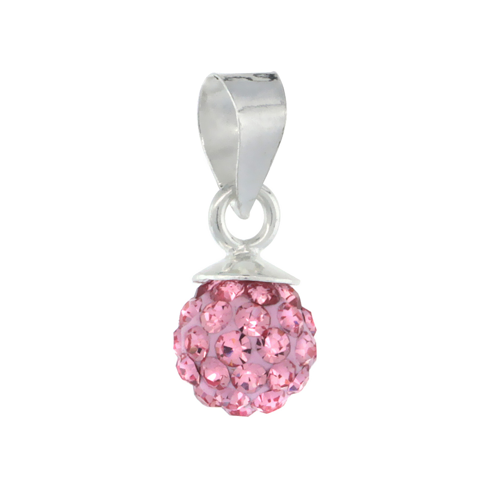 Tiny 6mm Sterling Silver October Birthstone Pink Tourmaline Crystal Disco Ball Pendant Necklace for Women