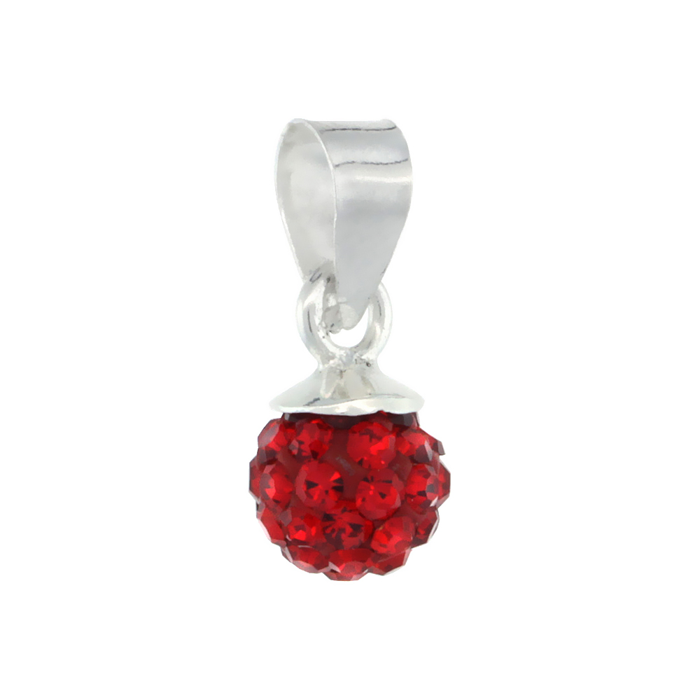 Tiny 6mm Sterling Silver July Birthstone Ruby Red Crystal Disco Ball Pendant Necklace for Women