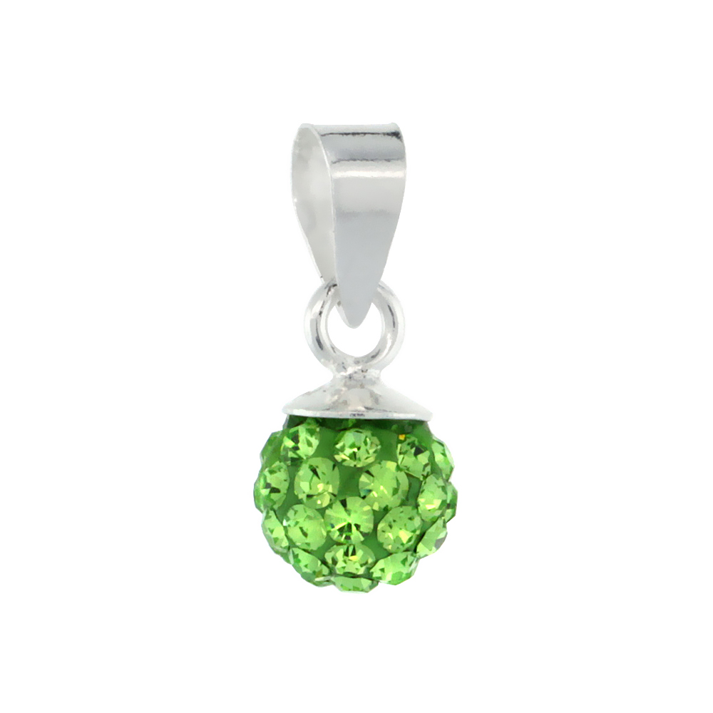 Tiny 6mm Sterling Silver August Birthstone Peridot Green Crystal Disco Ball Pendant Necklace for Women
