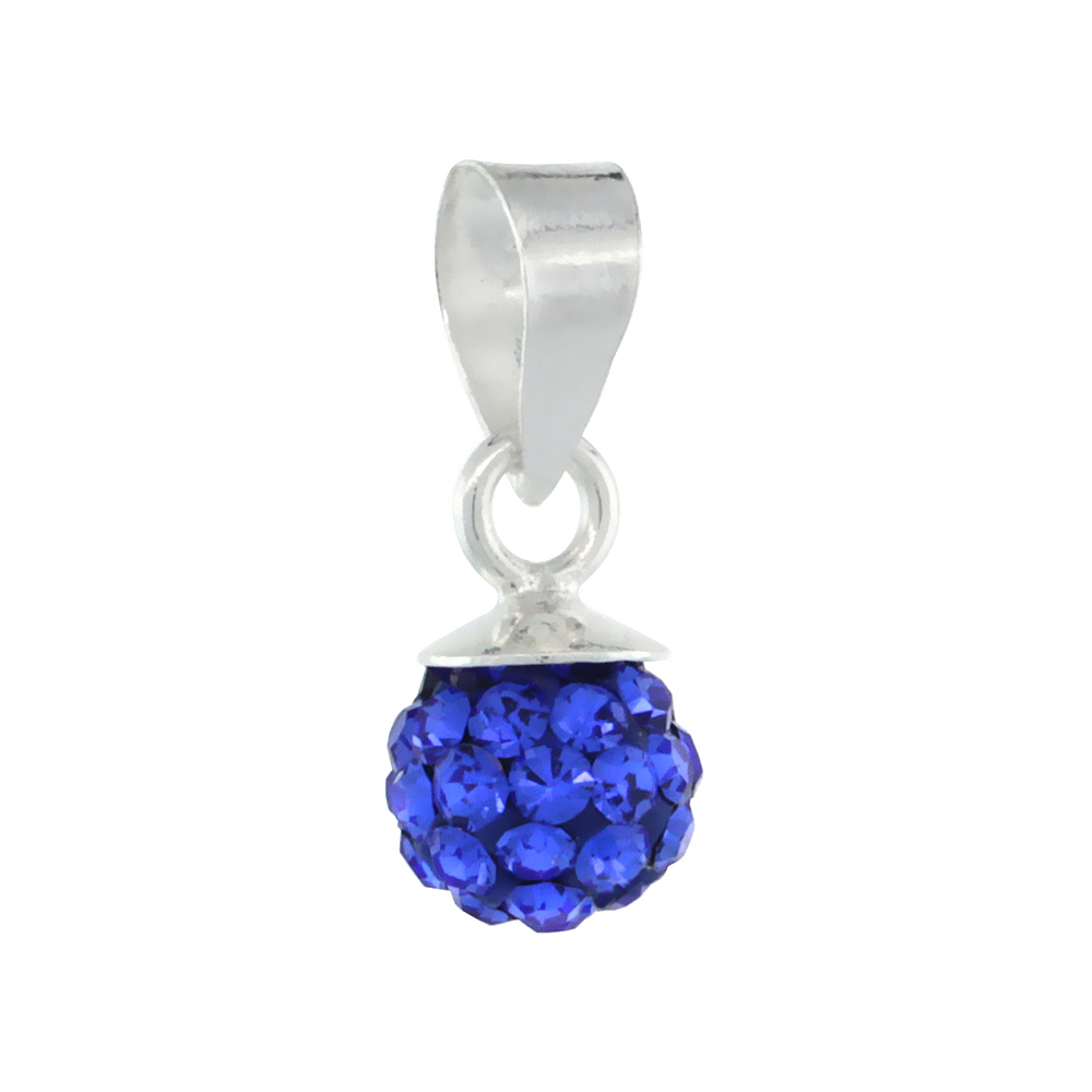 Tiny 6mm Sterling Silver September Birthstone Blue Sapphire Crystal Disco Ball Pendant Necklace for Women