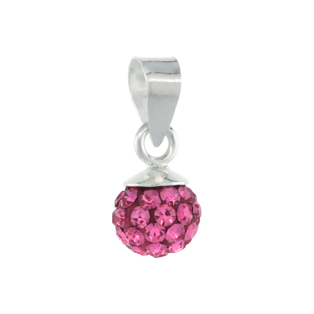 Tiny 6mm Sterling Silver June Birthstone Alexandrite Fuchsia Crystal Disco Ball Pendant Necklace for Women