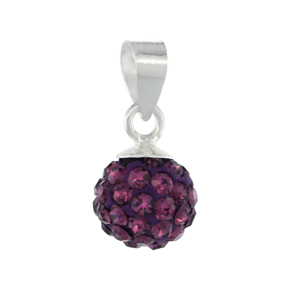 Small 8mm Sterling Silver February Birthstone Amethyst Purple Crystal Disco Ball Pendant Necklace for Women