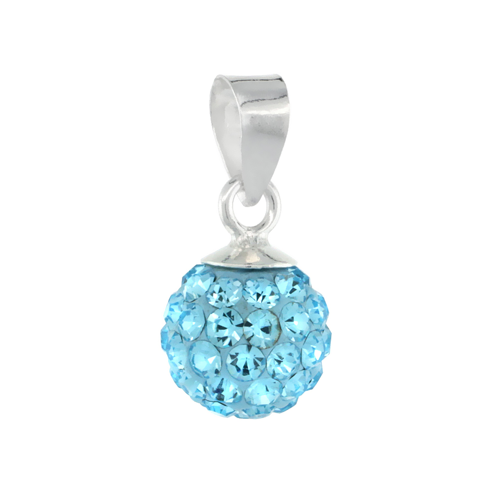 Small 8mm Sterling Silver March Birthstone Aquamarine Aqua Crystal Disco Ball Pendant Necklace for Women
