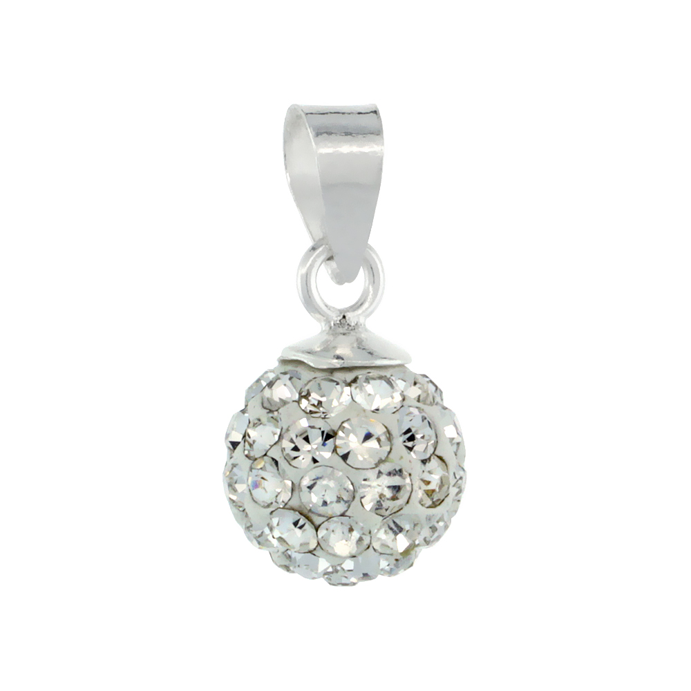 Small 8mm Sterling Silver April Birthstone White Crystal Disco Ball Pendant Necklace for Women