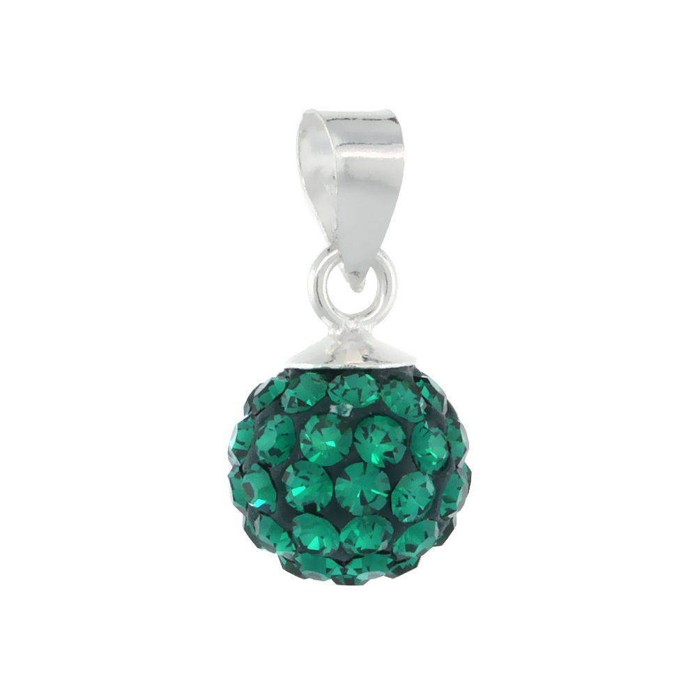 Small 8mm Sterling Silver May Birthstone Emerald Green Crystal Disco Ball Pendant Necklace for Women