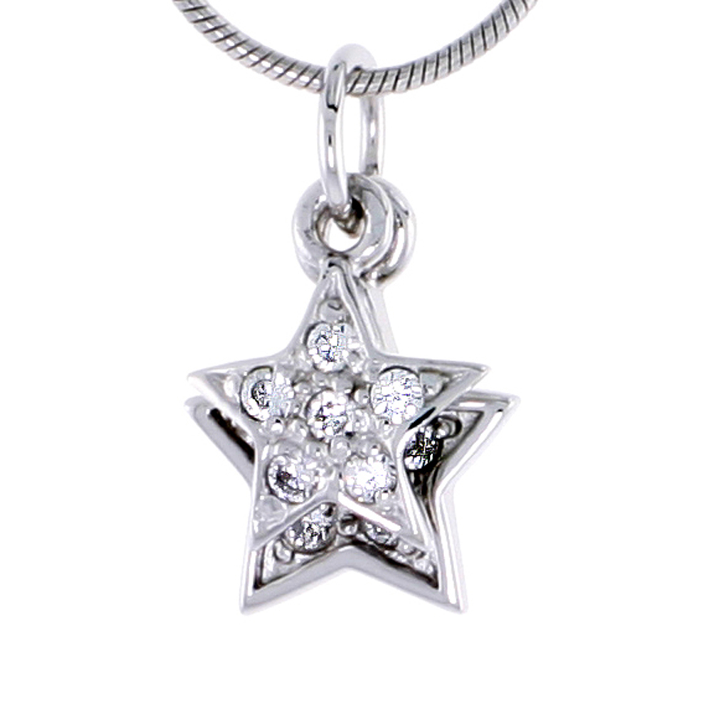 Sterling Silver Jeweled Star Pendant, w/ CZ Stones, 1/2 in. (13 mm) tall