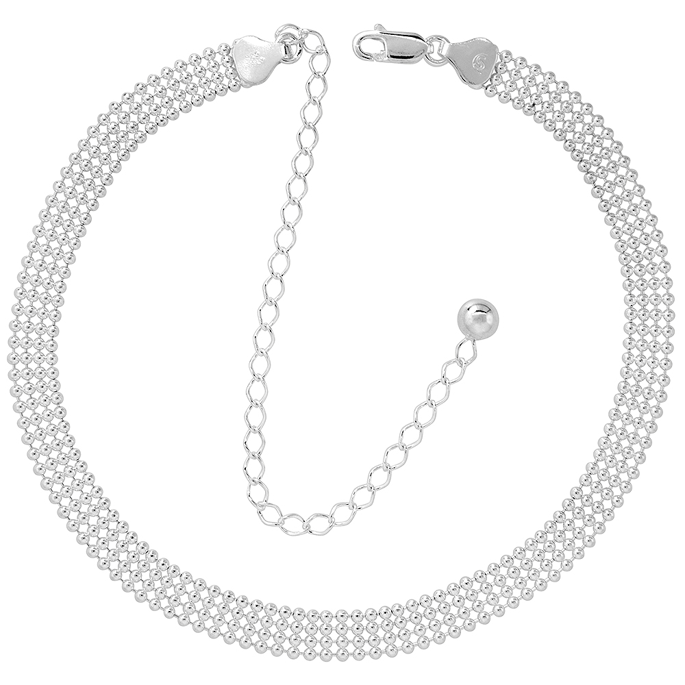 Sterling Silver Pallini Bead Ball Chain Choker 4 Strand 1.8mm Italy, 11 inch + 5 inch extension