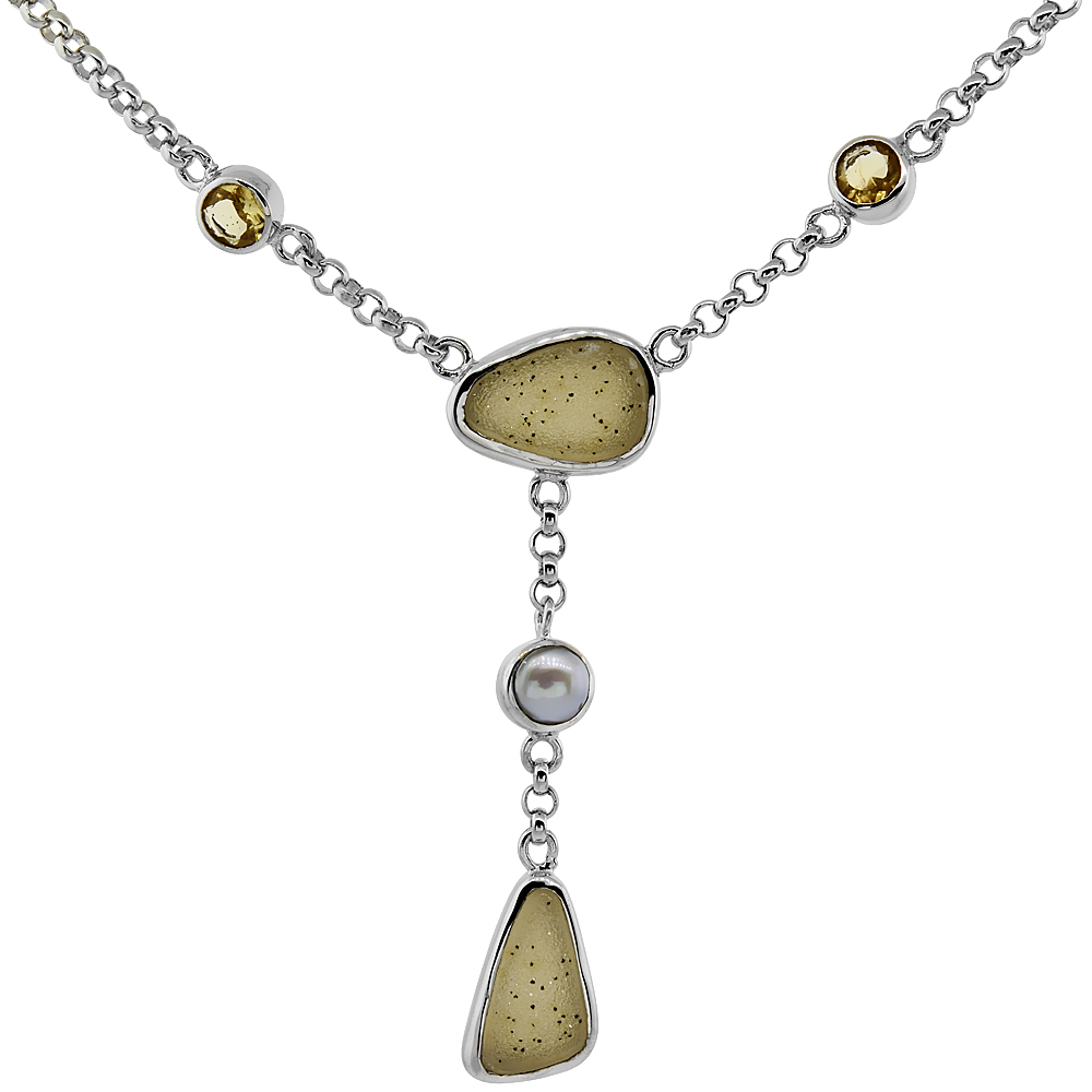 Sterling Silver Cream Druzy Rolo Toggle Necklace Citrine, Gray Pearl Accents, 16 inches long