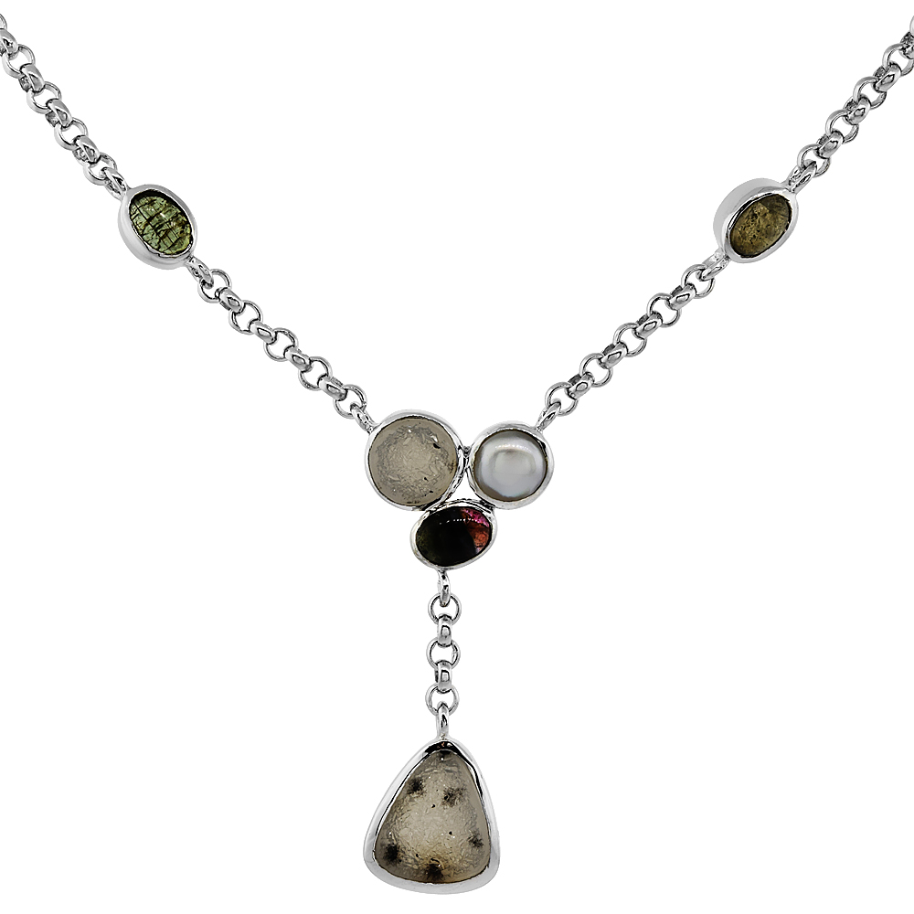 Sterling Silver Cream Druzy Rolo Toggle Necklace Green Agate, White Pearl Accents, 16 inches long
