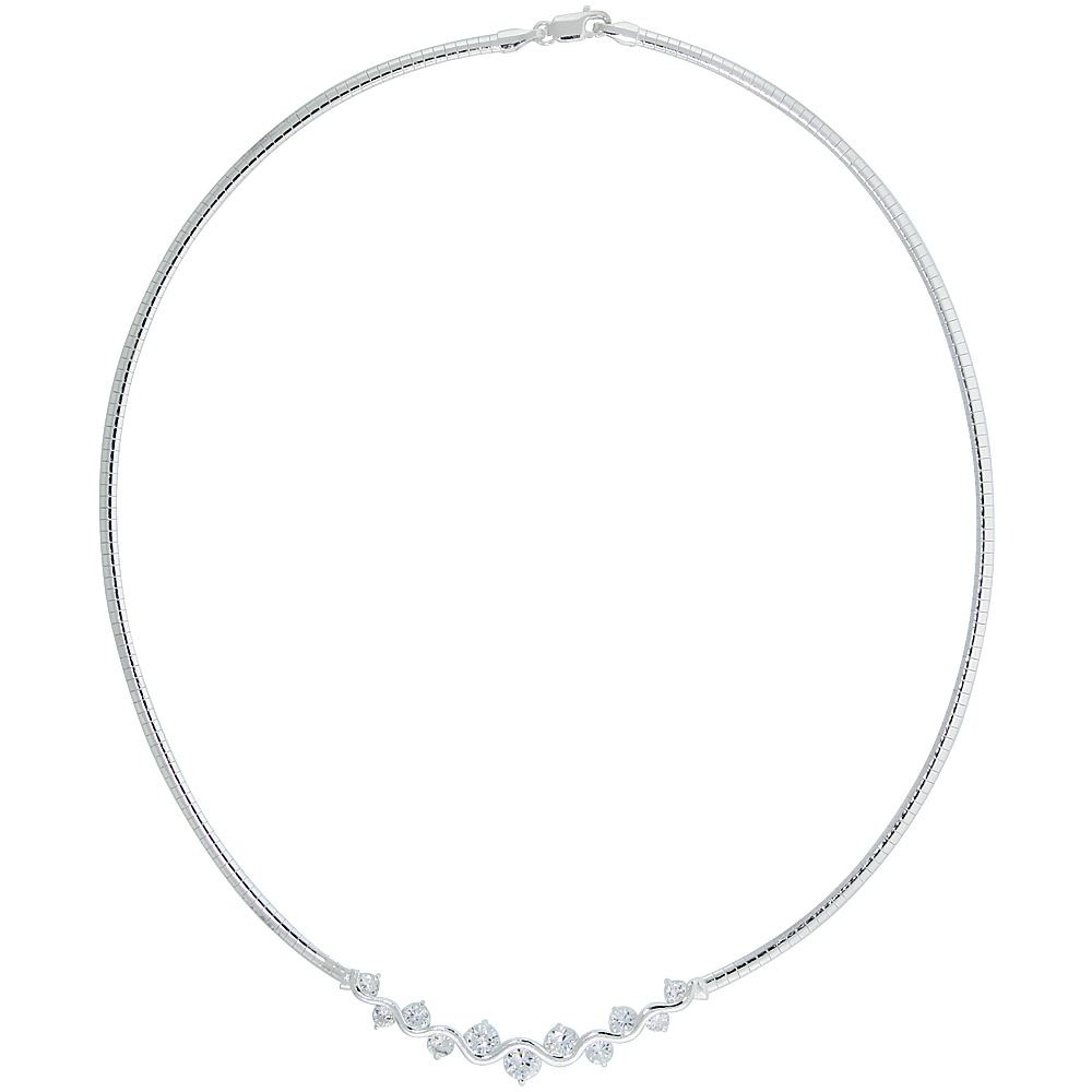 Sterling Silver 3mm Cubetto Necklace with Up and Down Cubic Zirconia, 16 inch long