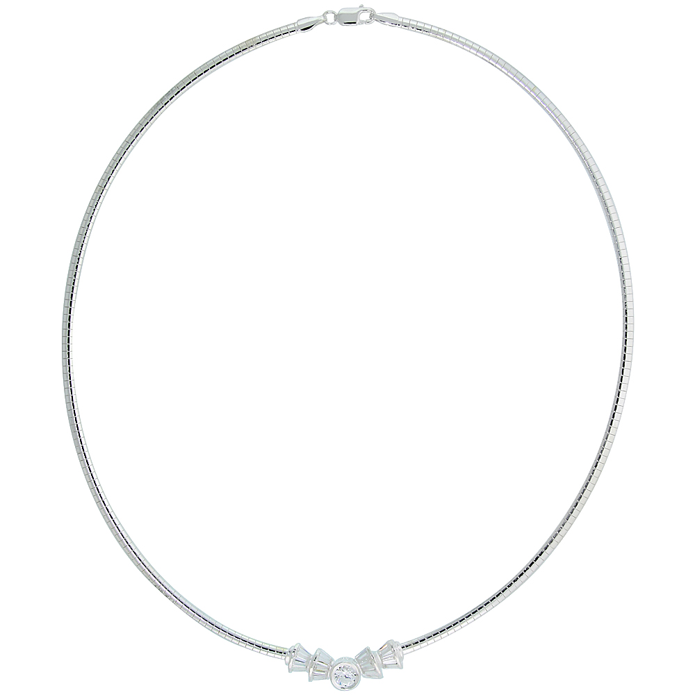 Sterling Silver 3mm Cubetto Necklace with Baguette Cubic Zirconia, 16 inch long