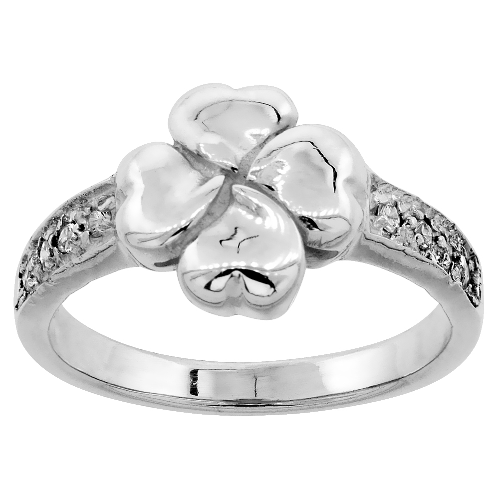 Sterling Silver Floral Heart Ring Cubic Zirconia Accents, 7/16 inch wide, sizes 6 - 9