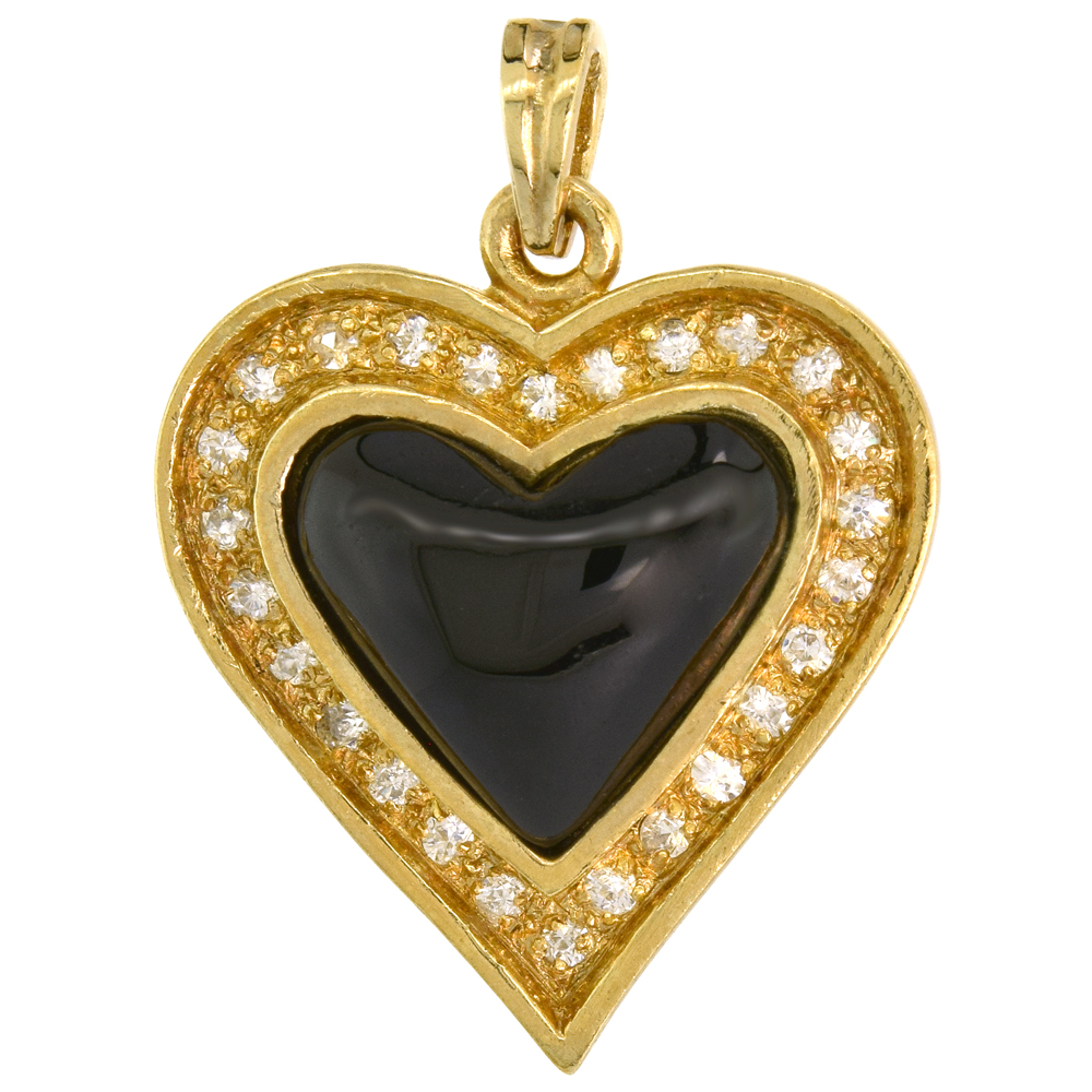 Sterling Silver Black Heart Pendant Yellow Plated Cubic Zirconia Accents, 15/16 inch wide
