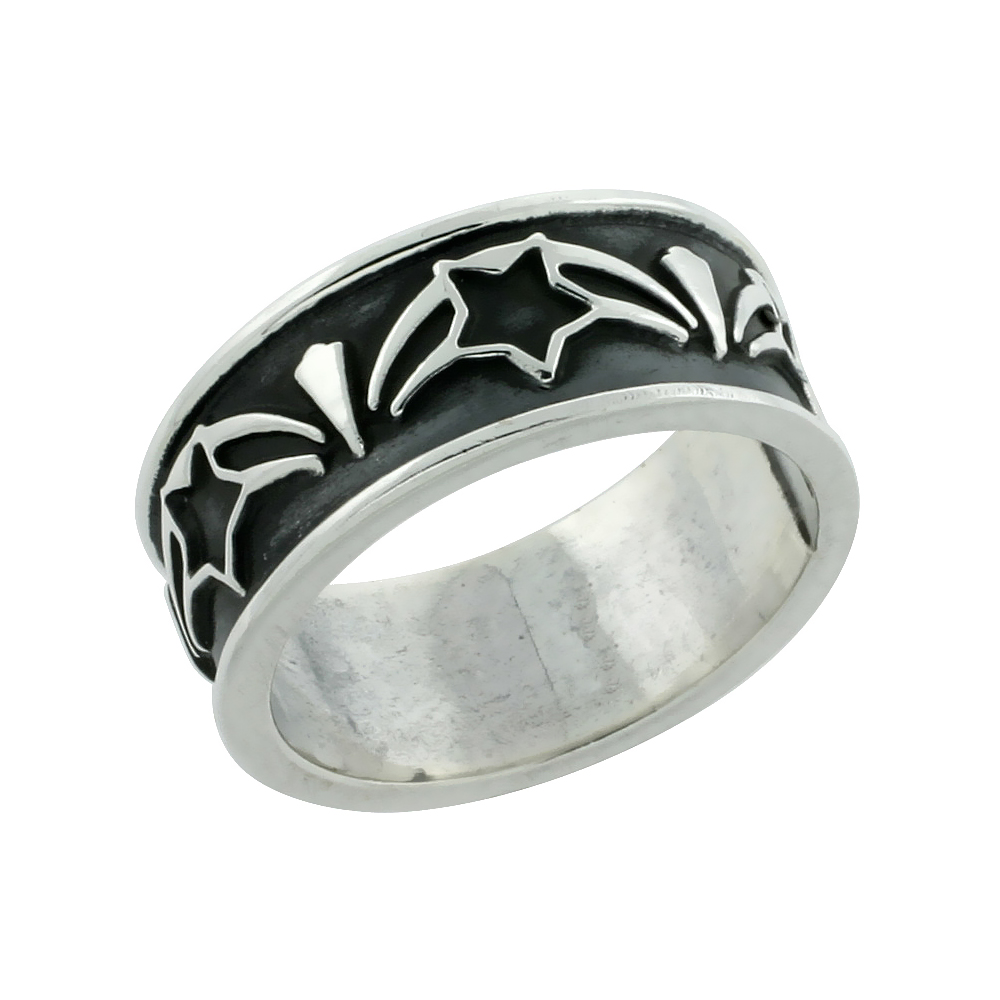 Sterling Silver Shooting Star Ring Handmade, 5/16 inch wide, size 6-13