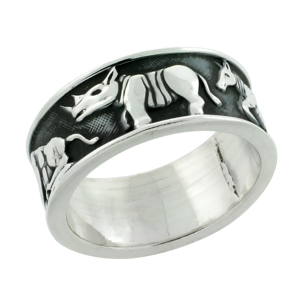 Sterling Silver Wild Safari Menagerie Ring Handmade, 11/32 inch wide, size 6-13