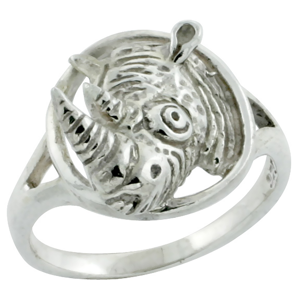 Sterling Silver Rhinoceros Head Small Children's Ring, 9/16 inch wide, size 3-6