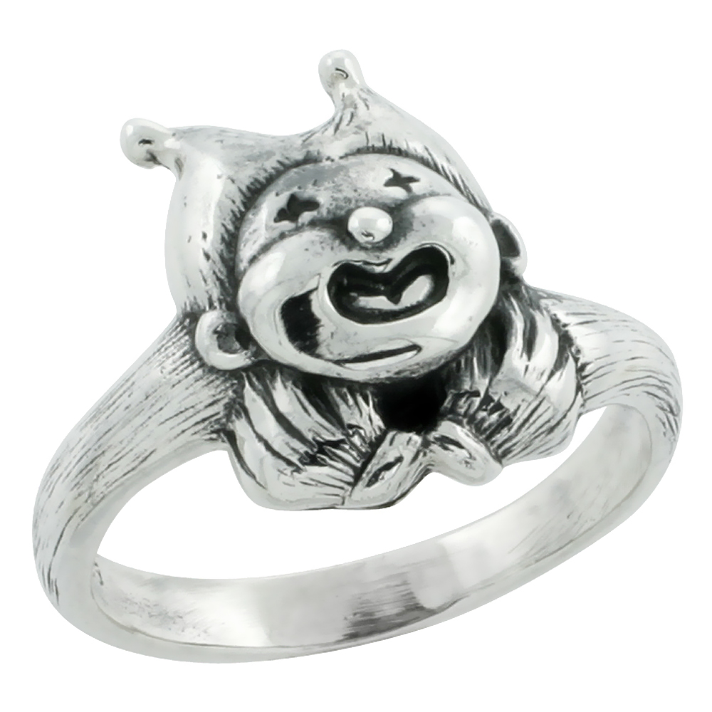Sterling Silver Chubby Jester Joker Ring, 19/32 inch wide, size 5-9