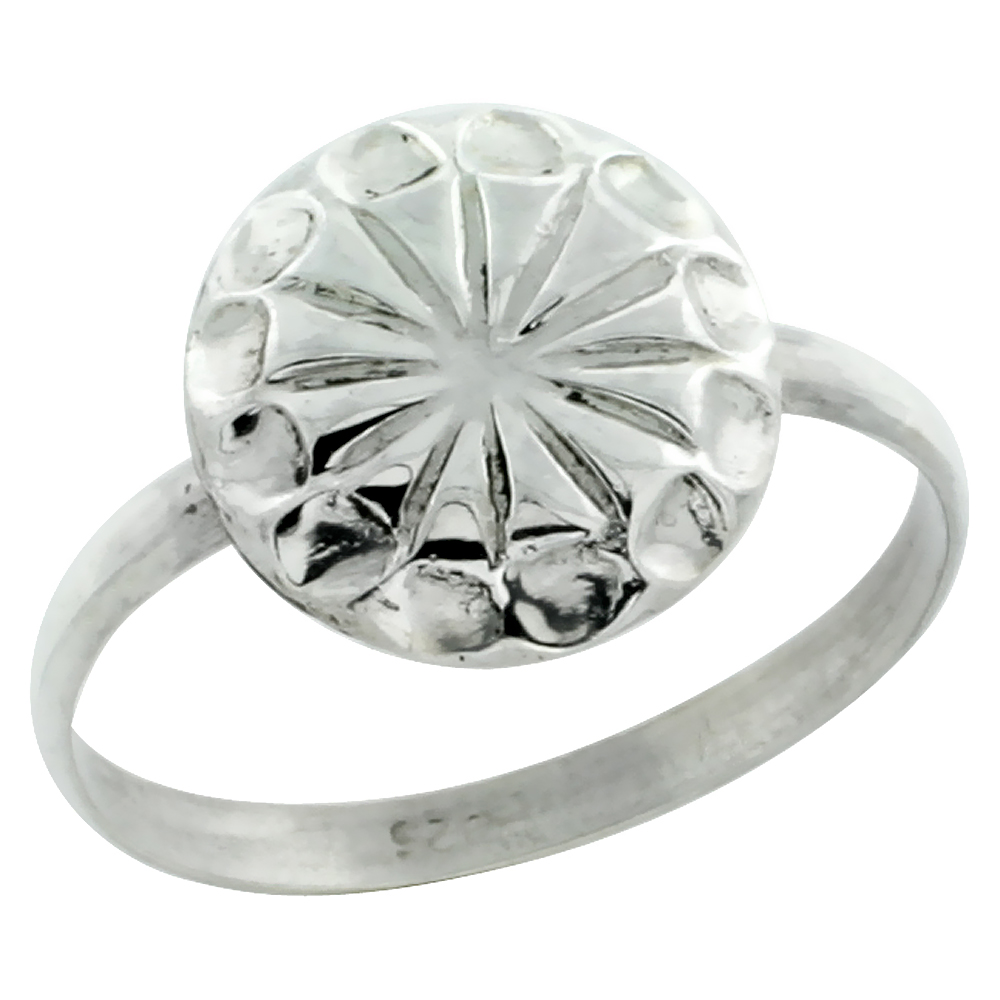 Sterling Silver Starburst Ring Concave Edges, 7/16 inch wide, size 5-9