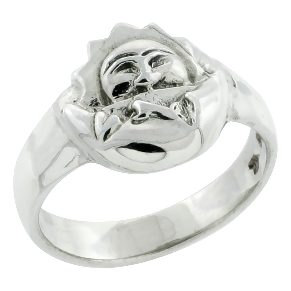 Sterling Silver Sun and Crescent Moon Ring, 1/2 inch wide, size 6-9