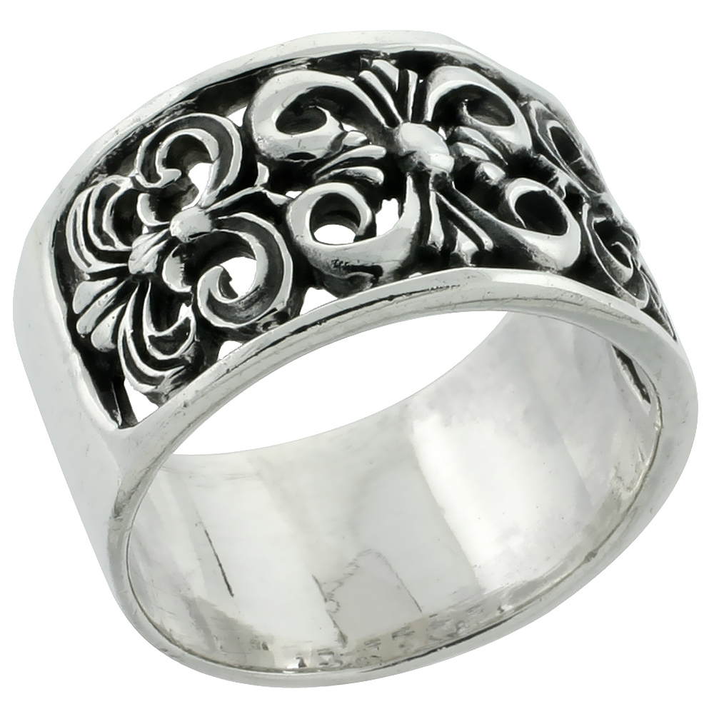 Sterling Silver Fleur de Lis Wide Cigar Band Flat 9/16 inch wide, size 6 - 13