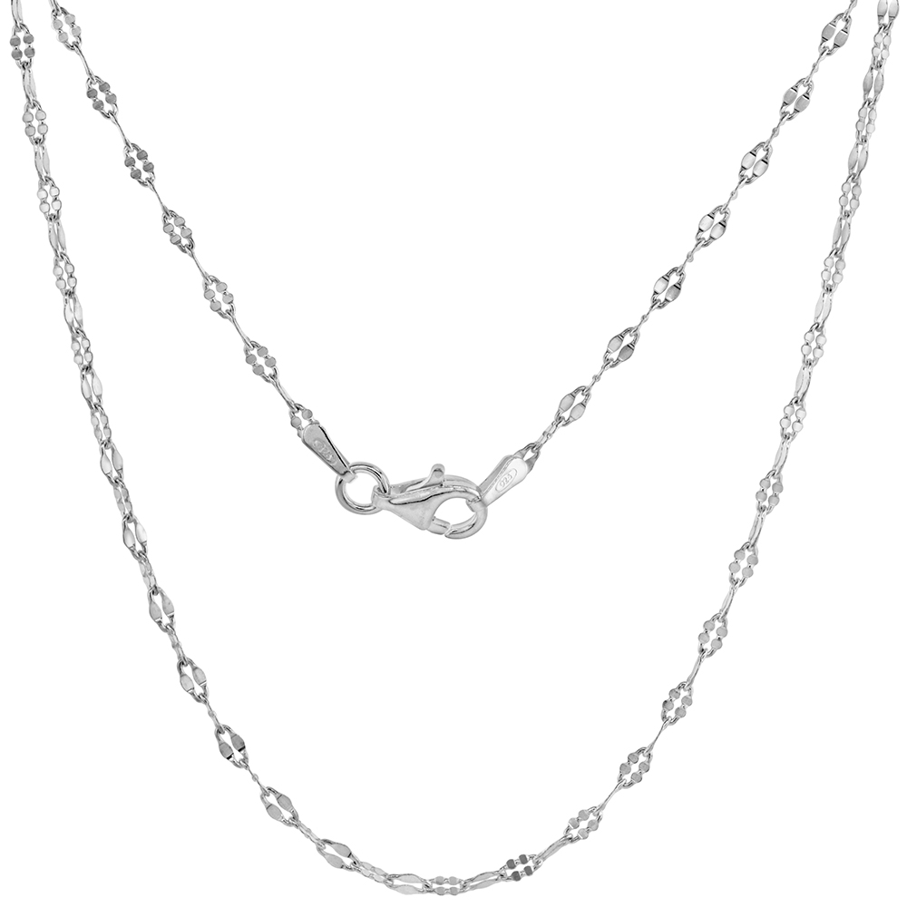 2mm Sterling Silver Coffee Chain Necklace for Women and GirlsDabbed Links Nickel Free Italy sizes 16 & 18 inch
