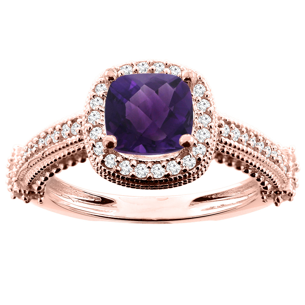 14K White/Yellow/Rose Gold Natural Amethyst Ring Cushion 7x7mm Diamond Accent 7/16 inch wide, sizes 5 - 10