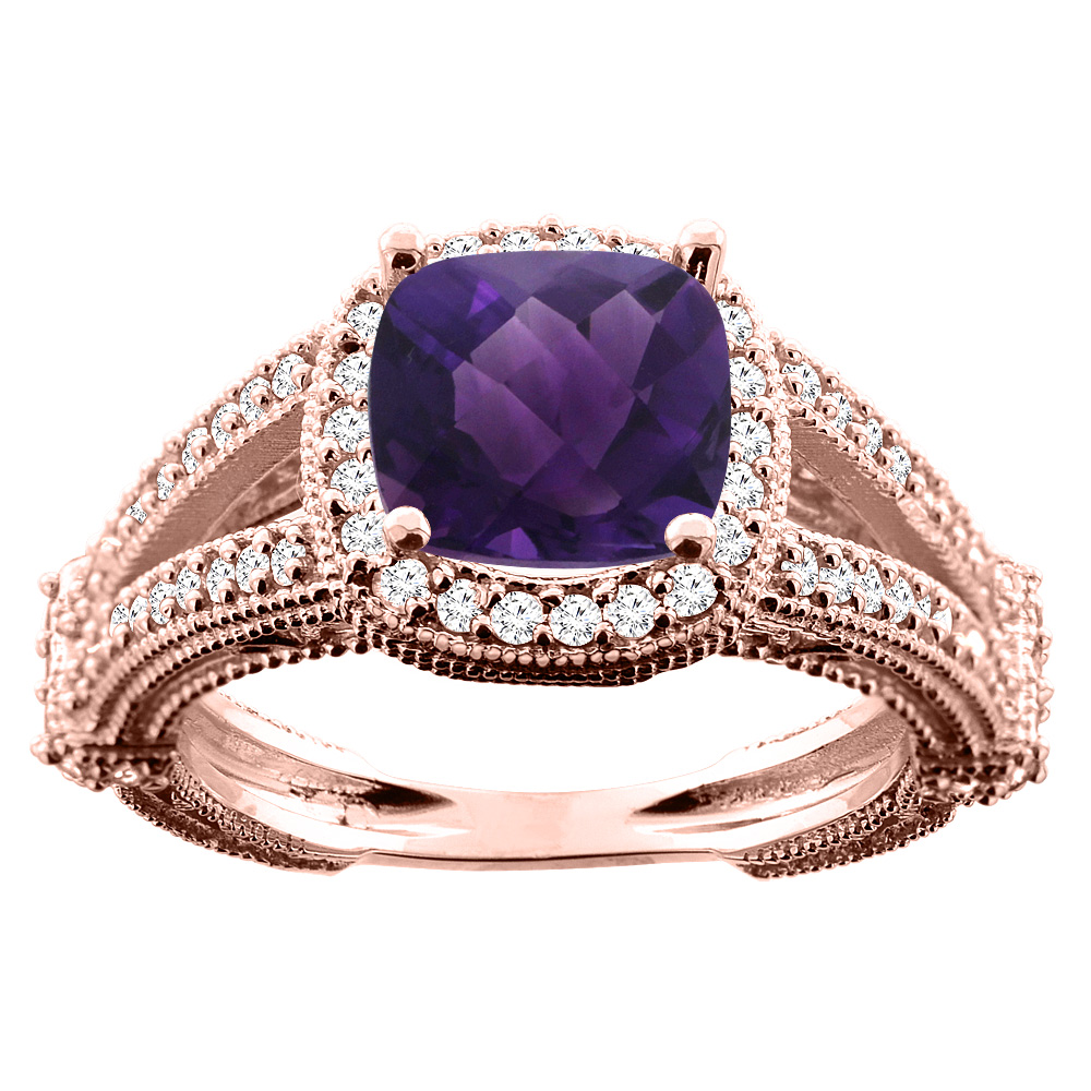 14K White/Yellow/Rose Gold Natural Amethyst Cushion 8x8mm Diamond Accent 3/8 inch wide, sizes 5 - 10