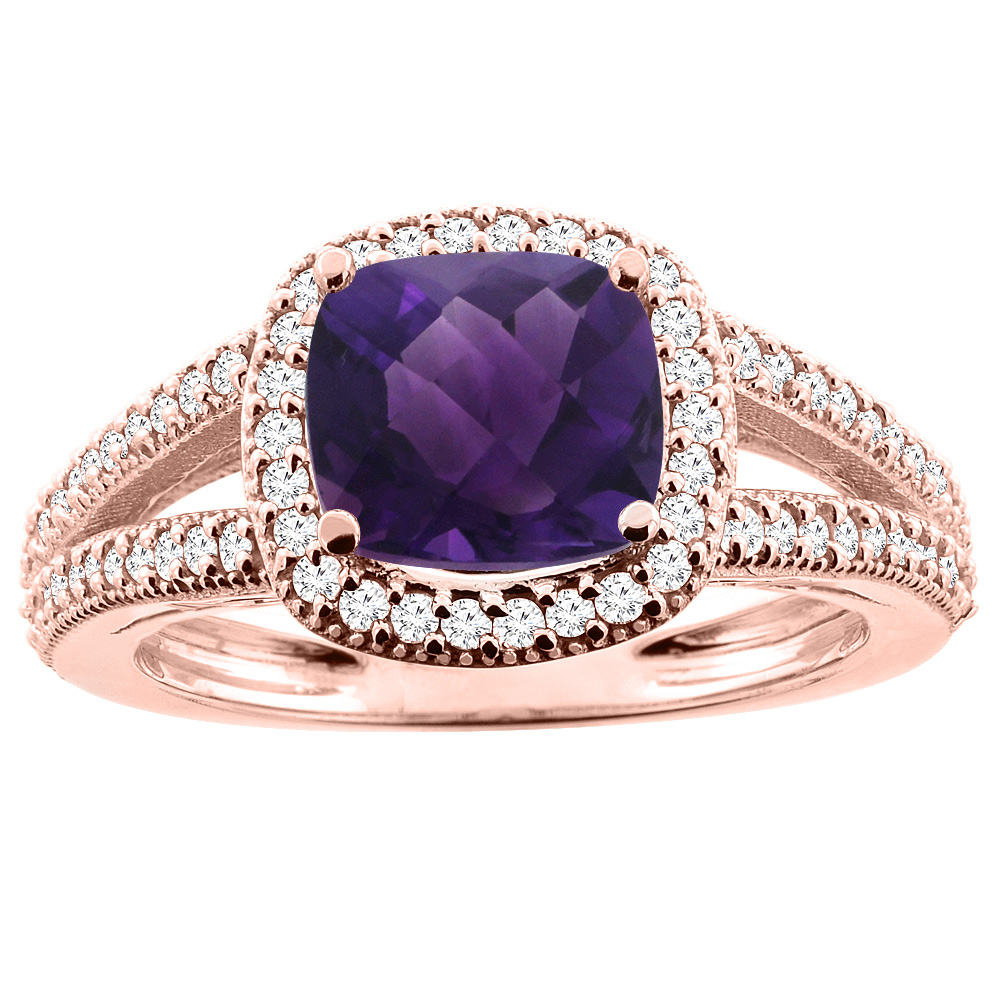 14K Rose Gold Natural Amethyst Ring Cushion 7x7mm Diamond Accent 3/8 inch wide, sizes 5 - 10