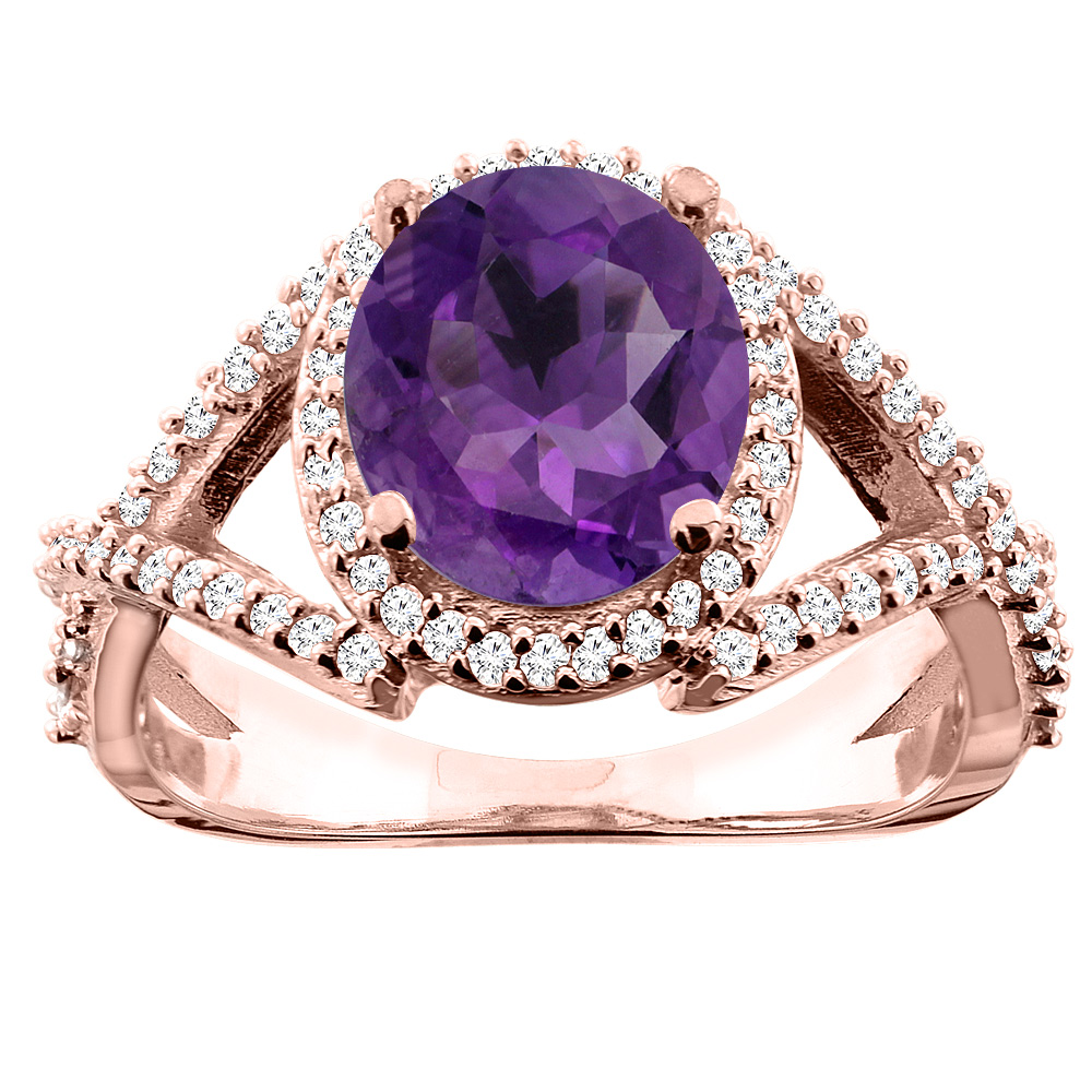 14K White/Yellow/Rose Gold Natural Amethyst Ring Oval 9x7mm Diamond Accent, size 5