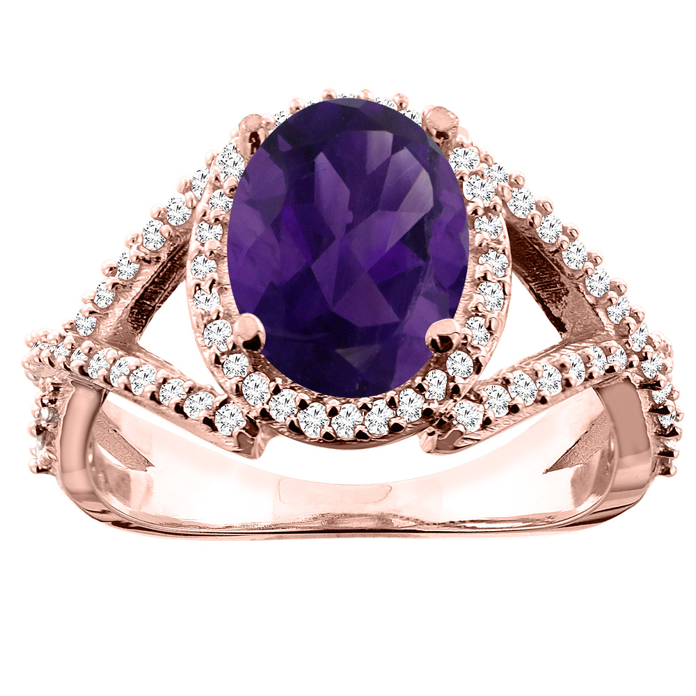 14K White/Yellow/Rose Gold Natural Amethyst Ring Oval 10x8mm Diamond Accent, sizes 5 - 10