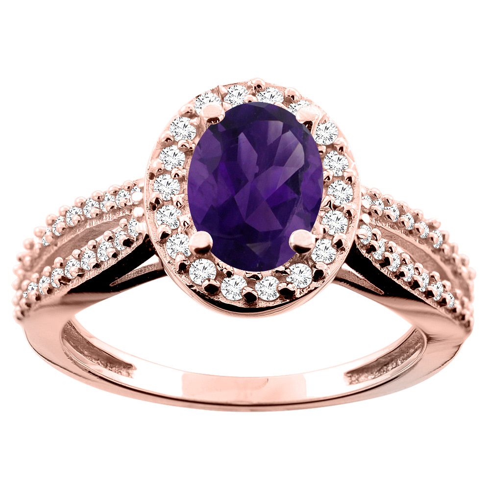 14K White/Yellow/Rose Gold Natural Amethyst Ring Oval 8x6mm Diamond Accent, size 5
