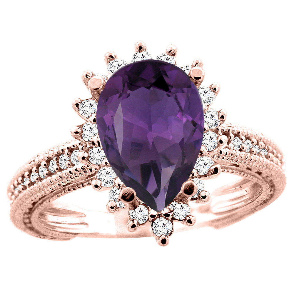 14K White/Yellow/Rose Gold Natural Amethyst Ring Pear 12x8mm Diamond Accent, size 5