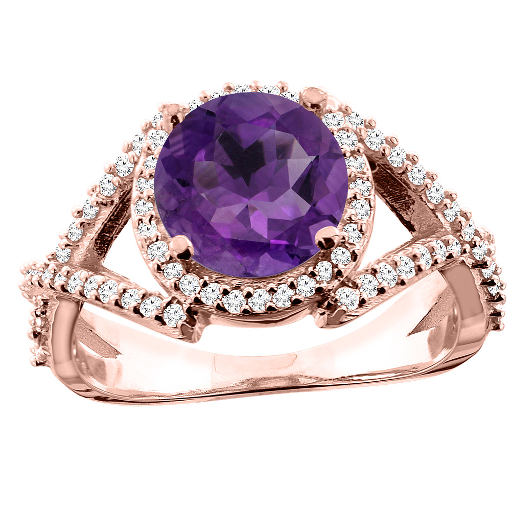 14K White/Yellow/Rose Gold Natural Amethyst Ring Round 8mm Diamond Accent, size 5