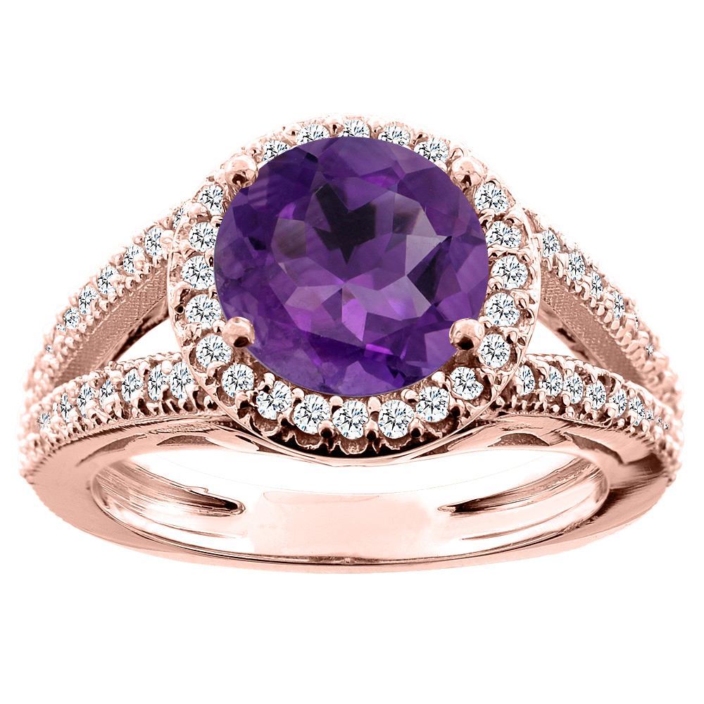 14K White/Yellow/Rose Gold Natural Amethyst Ring Round 8mm Diamond Accent, sizes 5 - 10