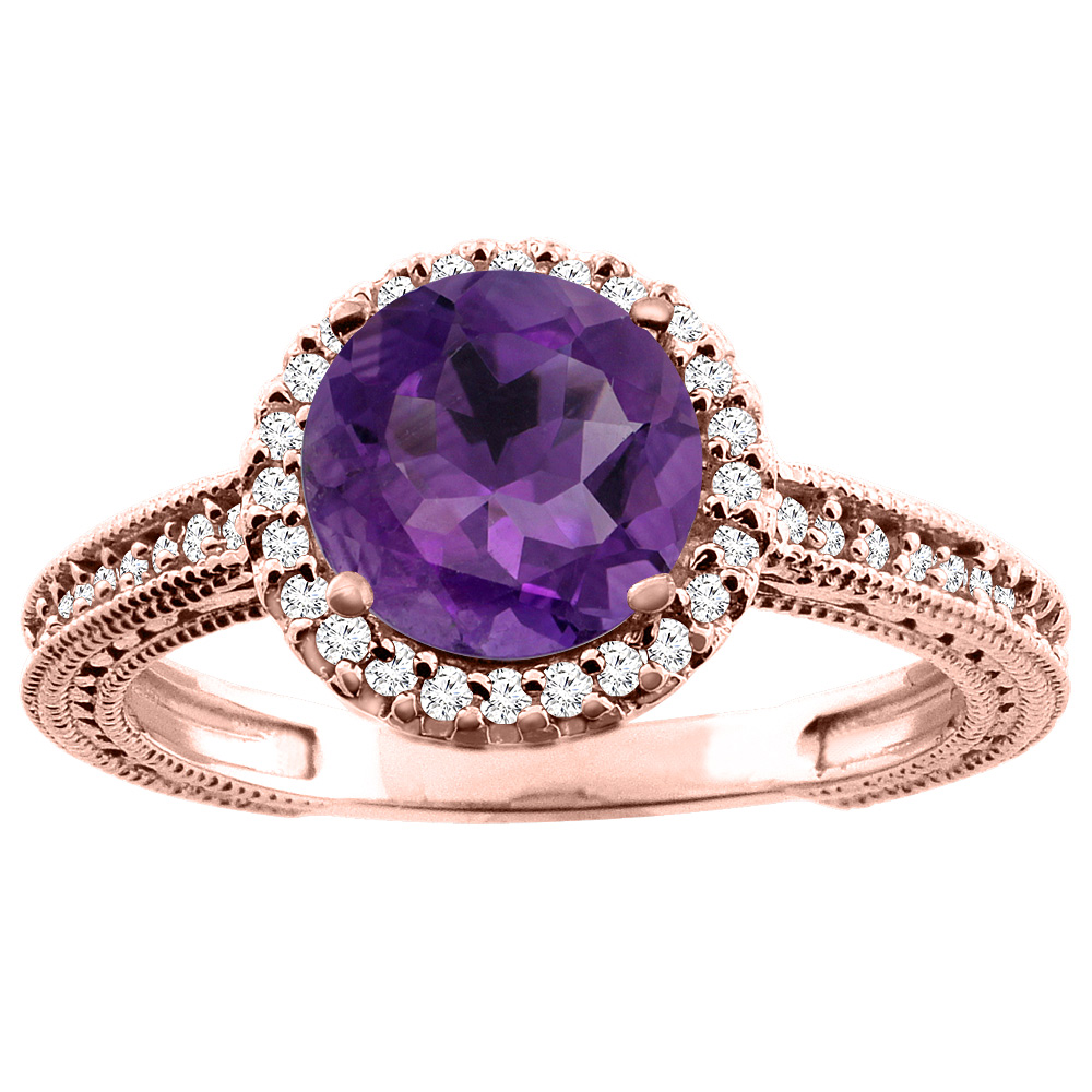 14K White/Yellow/Rose Gold Natural Amethyst Ring Round 7mm Diamond Accent, sizes 5 - 10