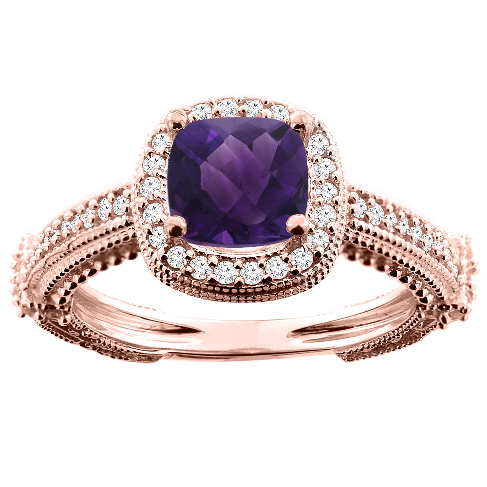 14K White/Yellow/Rose Gold Natural Amethyst Ring Cushion 7x7mm Diamond Accent, sizes 5 - 10